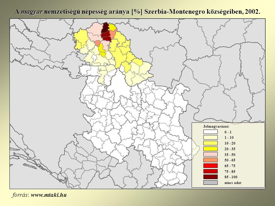 A magyar nemzetiségű népesség aránya [%] Szerbia-Montenegro községeiben, 2002.